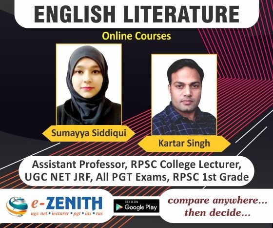 UGC NET, RPSC 1st GRADE ENGLISH LITERATURE ONLINE COURSE